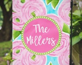 Garden Flag Floral Pink Lily Inspired Personalized Name Monogram Family Outdoor Flag