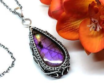 Purple Labradorite, Labradorite Necklace, Labradorite Jewelry, Labradorite, Silver Pendant, Wire Wrap Necklace, Silver