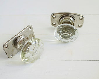 vintage glass door knobs set soviet door knob round metal handle silver tone
