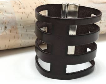 Wide Brown Leather Cutout Cuff with Magnetic Silver Tone Clasp,Statement Leather Cuff, Extra Wide Leather,Brown and Silver,Minimalist Modern