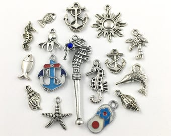 16 beach charms collection antique silver 8mm to 55mm  #ENS A 161,