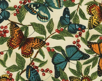 Butterfly Fabric by the Yard, Quilt, Novelty, Cotton, Nature, Large Print, Monarch, Berry, Green, Orange, Yellow, Teal, Decor, Craft