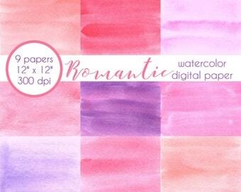Scrapbook Paper, Valentine, Romantic, Watercolor Wash, Soft Colors, Digital Paper, Digital Scrapbook, Digital Background