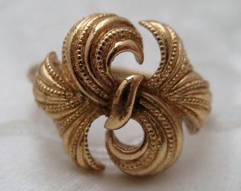Vintage GOLDTONE Avon Floral Filigree Ring Size N