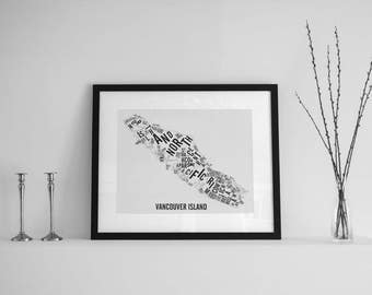 Vancouver Island Typographic Map - BC Art - BC Map - BC Poster