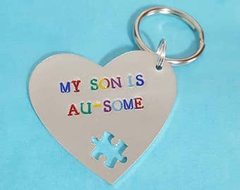 Autism, autistic my son is Au-some keyring quality handstamped keyring