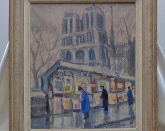 Signed Vintage Art Walk by Cathedral Oil Painting w. Antique Decorative Wood Frame