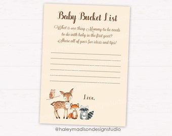 Woodland Baby Shower Game, Baby Bucket List, Woodland Baby Shower acitivty, DIGITAL FILE