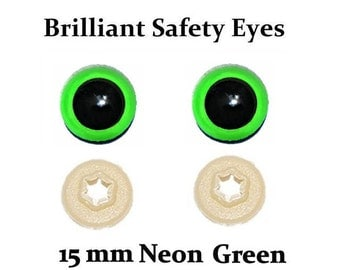 15mm Safety Eyes Neon Green Brilliant with Round Pupil (One Pair)