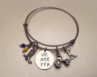 We are FFA Bangle Future Farmers of America Boot Tractor Initial Blue Yellow Charms