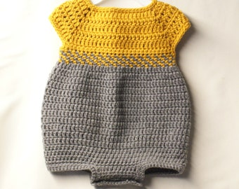 Crochet Baby Romper Outfit Pattern. 0-3, 3-6, and 6-12 months. - PATTERN ONLY