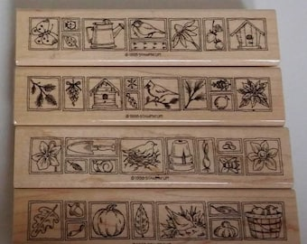 """On Sale Stampin Up Rubber Stamps: Nature's Seasonal Borders...Spring, Summer, Fall, Winter...Set of 4, 5.5"""" in Length, UNUSED, Nature Rubber"""