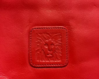 Vintage Bohemian Chic Cottage Chic Vogue Anne Klein Calderon Reddish Orange Leather Clutch Compartment Cosmetic Pouch Handbag