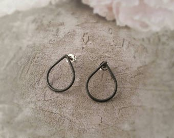 Oxidised Sterling Silver Teardrop Earrings.  Eco Friendly. Raindrop Earrings. Stud Earrings. Oxidized Silver Raindrop Studs