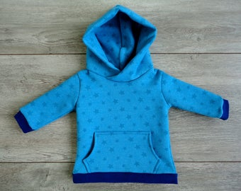 Bright blue hoodie with stars
