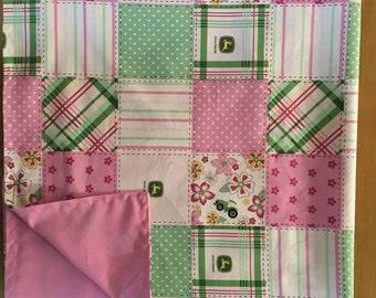 Pink John Deere baby girl receiving blanket