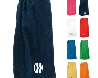Monogrammed Towel Wrap Ladies Cotton Cover Up Personalized Embroidered Monogram Greek Letters