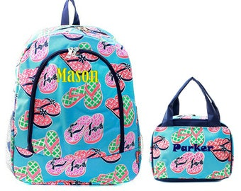 Matching Flip Flop Personalized Kids Backpack & Lunch Bag Set