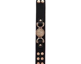 Personalized Monogram Black Leather Cuff Gold Bracelet