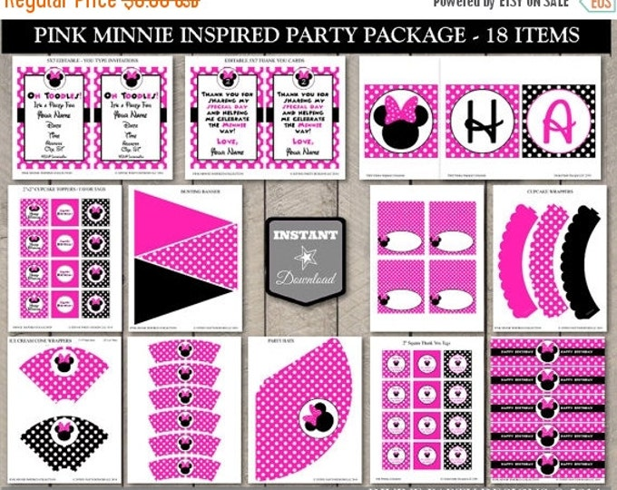 SALE INSTANT DOWNLOAD Hot Pink Mouse Printable Birthday Party Package / Editable / Hot Pink Mouse Collection / Item #1700