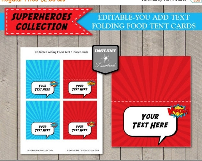 SALE INSTANT DOWNLOAD Editable Superhero Folding Food Tent Place Cards Add Your Own Text