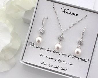 Agnes - Personalized Swarovski Pearl Wedding SET, Bridal Earrings, Crystal Earrings, Bridesmaid Gift, Bridesmaid Earrings, Bridal Party Gift