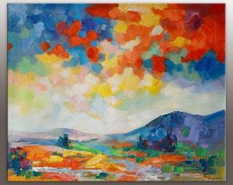 Large Art, Landscape Painting, Abstract Art, Wall Art, Canvas Art, Oil Painting Original, Palette Knife Painting, Large Canvas Wall Art