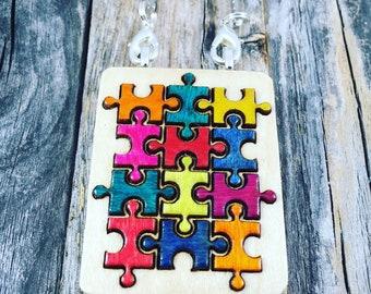 Autism Jewelry-Autism Awareness Pendant-Autism Puzzle Piece Necklace-Autism Art-Art Jewelry-Laser Cut Pendant-Statement Piece
