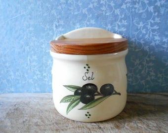 French vintage salt box, kitchen ceramic salt storage, olives decor. Mediterranean home decor, French country.
