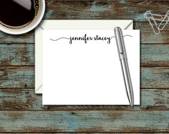 Personalized Stationary, Personalized Flat Notecard, Monogram Stationary, Cute, Cursive, Script Name, Thank You Note, Correspondence, SS8