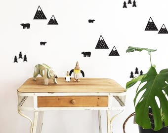 Mountains wall stickers. Set of  Removable vinyl. Set of 28 individual stickers. Mountains, trees and bears.