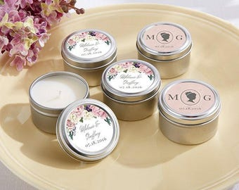 Personalized Mini Travel Tin Candles - English Garden Wedding Candles- Travel Tin Candles - Wedding Favors (20155EG)