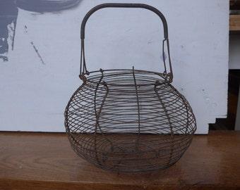 Antique wirework egg basket