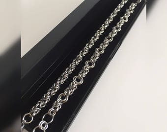 Couples Bracelet His and Her, Stainless Steel Byzantine Chain maille, Her and Her Bracelets, Steel Jewelry 11th Anniversary, Couples Jewelry