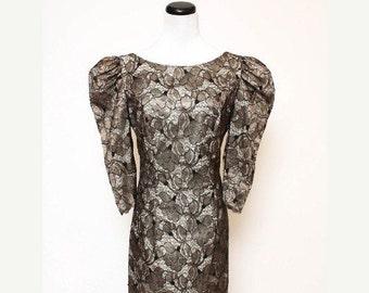 SALE Vintage Floral Lace Black White Grey Mini Dress by Bianchi Boston