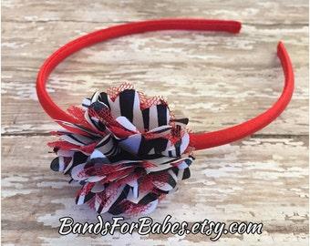 Black White and Red Satin and Tulle Flower Headband, Zebra Print Flower Headband, Girls Basic Headband, Toddler Hair Accessory, Hair Bow