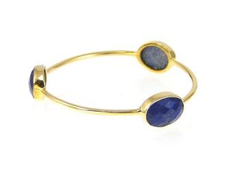 Lapis Bangle - Gemstone Bangle Bracelet - Stacker Bangle - Multi Colored Bangles - Stacking Bangles - Gold Bangle