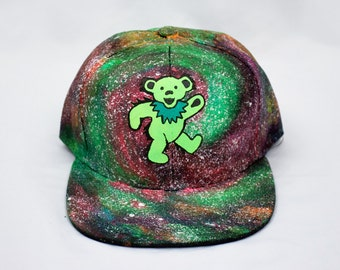 Dancing Bear Galaxy Hand Painted Hat, Grateful Dead Hat, Grateful Dead Snapback Hat, Hand Painted Galaxy Hat