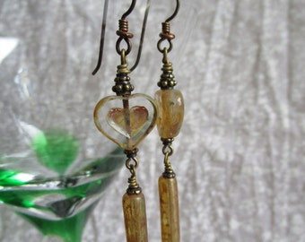 Transparent Renaissance Long Heart Earrings Crystal Earthy Czech Picasso Hippie Earrings Hypoallergenic Niobium Ear Wires and Bohemian Glass