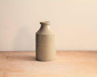 Antique Stoneware Ink Bottle - Repurposed Vase - Rustic Modern - Urban Farm House - Display - Bud Vase