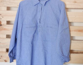 Vintage Linen blue blouse 80's OOAK Made in Italy