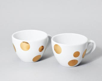 mugs, gold dots ,espresso cups set, espresso cup, tea cup, white porcelain, porcelain, gold dots, golden, gold, dots