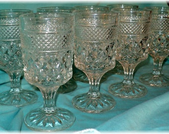 Vintage Anchor Hocking 8 WEXFORD Water or Wine Glasses 5 1/2""