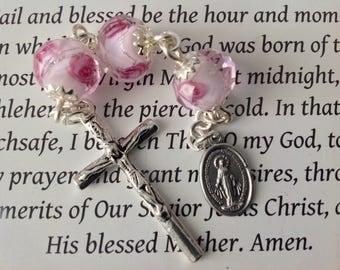 Three Hail Mary Miraculous Medal Rosary Handmade