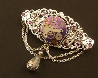 Steampunk hairclip with genuine watch parts gear wheels silver purple fimo hair jewelry antique trend hair accessories gift for her