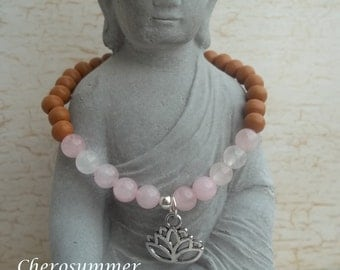 Yoga bracelet Rose Quartz wooden Lotus