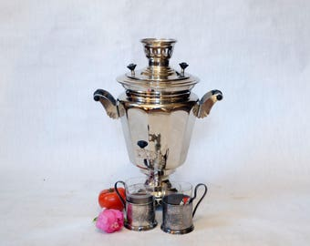 Large Soviet Russian Samovar with Cups -Working -  Electric Metal Tea Pot - Nickel Plated Brass - from Russia / Soviet Union / USSR