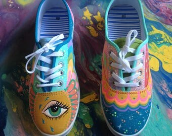 Hand painted shoes; size 8-8.5