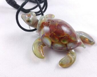 Turtle (Honeycomb) - Glass Pendant Necklace
