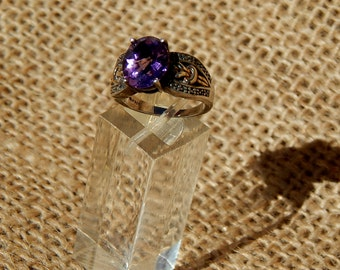 Amethyst Ring Vintage Oval Stone Royal Amethyst Sterling Silver